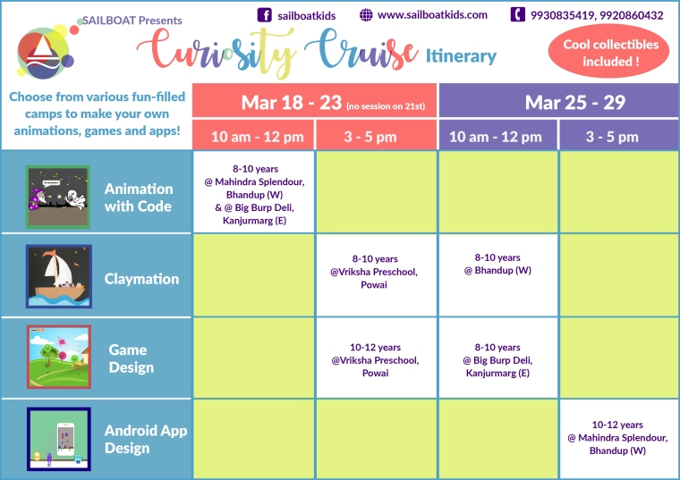 Schedule for the March Curiosity Cruise